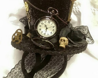 103f19126ff8d Steampunk Time Halloween Gothic Cosplay Black Mini Top Hat Real Pocket  Watch Clocks Wheels Keys Skulls Rose Alice Through The Looking Glass