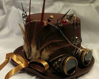 Steampunk Festival Bespoke Victorian Goth Brown Wool/Felt Top Hat Aviator Goggles Clocks Time Skeleton Wings Keys Burning Man Cosplay