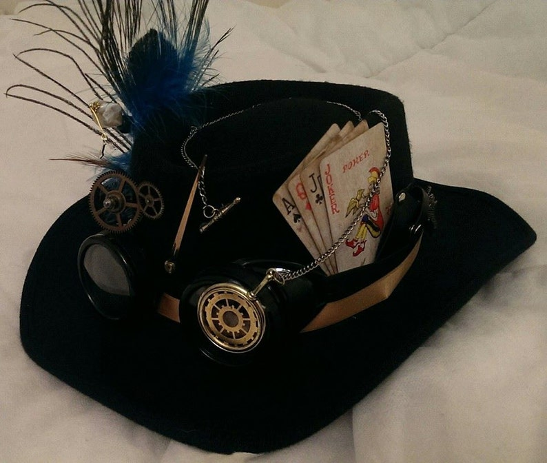 Festival di Steampunk Western Gambler Bespoke cappello nero in  49f18bae2ddd