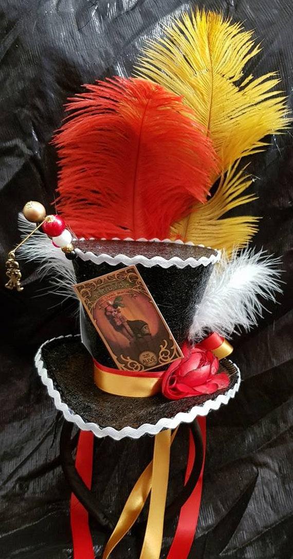 Circus Freak Show Black Mini Top Hat Tattoo Woman Jester Clown  5ac1f6f8ef55
