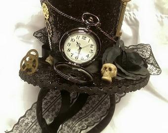 Steampunk Time Halloween Gothic Cosplay Black Mini Top Hat Real Pocket Watch Clocks Wheels Keys Skulls Rose Alice Through The Looking Glass