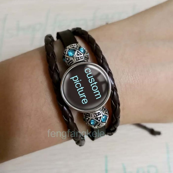 LIVING THE DREAM Black Leather bracelet custom picture charm show Guitar rock music art jewelry Back to school graduation gift for boy girl