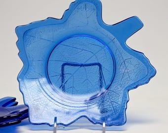 """Set of 3 LE Smith Mt. Pleasant Cobalt Blue Glass Leaf Plates 8 1/4"""""""