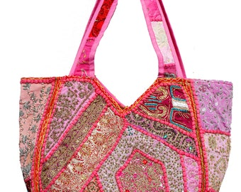 3fa85234ca90 Indian Ethnic Handmade Vintage Beads Zari Embroidered Beaded Patchwork  Women Handbag