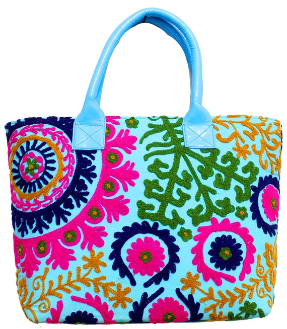 c5353101b5 Indian cotton Suzani Embroidery women Handbag Hobo Bag Purse