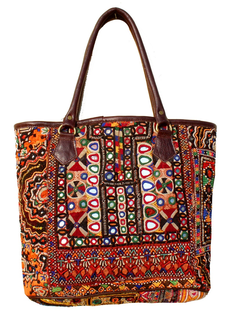aef4df33ad Vintage Banjara Leather Handle Shoulder BagLeather Bag Tote
