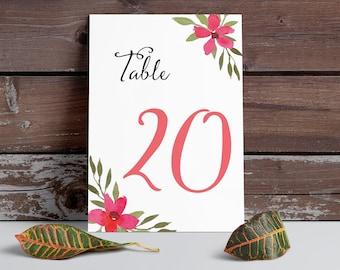 Table Numbers, watercolor flower, Coral flower, printable table numbers, wedding table numbers, floral table numbers, digital, table cards