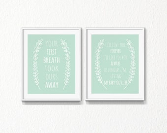 Mint nursery wall art, Set, INSTANT download, Nursery, I love you forever, your first breath, mint green, Printable Art, printable, children