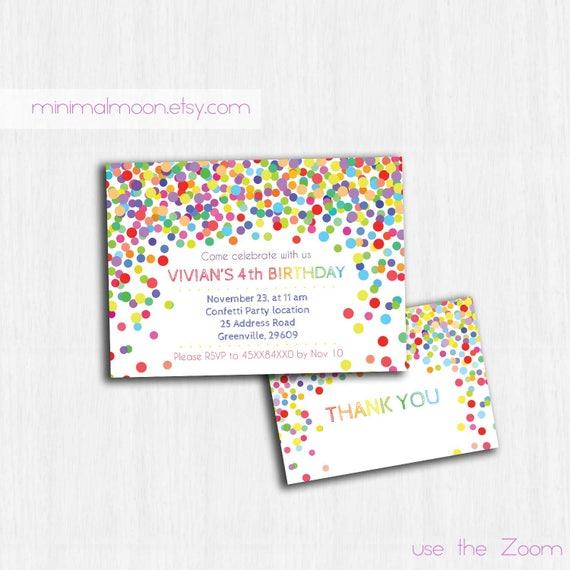 Konfetti-Geburtstags-Einladung Printable | Etsy