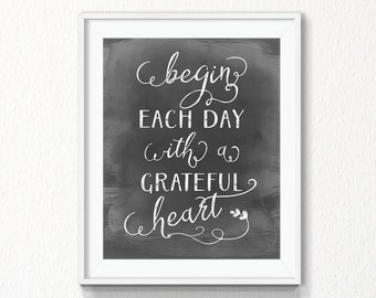 Begin each day with a grateful heart, Printable, chalkboard wall art, be grateful, thanksgiving printable, motivate, positive, grateful art