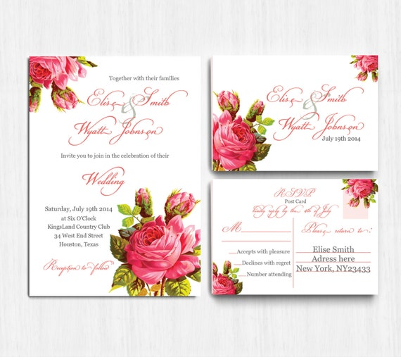DIGITAL Vintage Flower Wedding Invitation wedding | Etsy