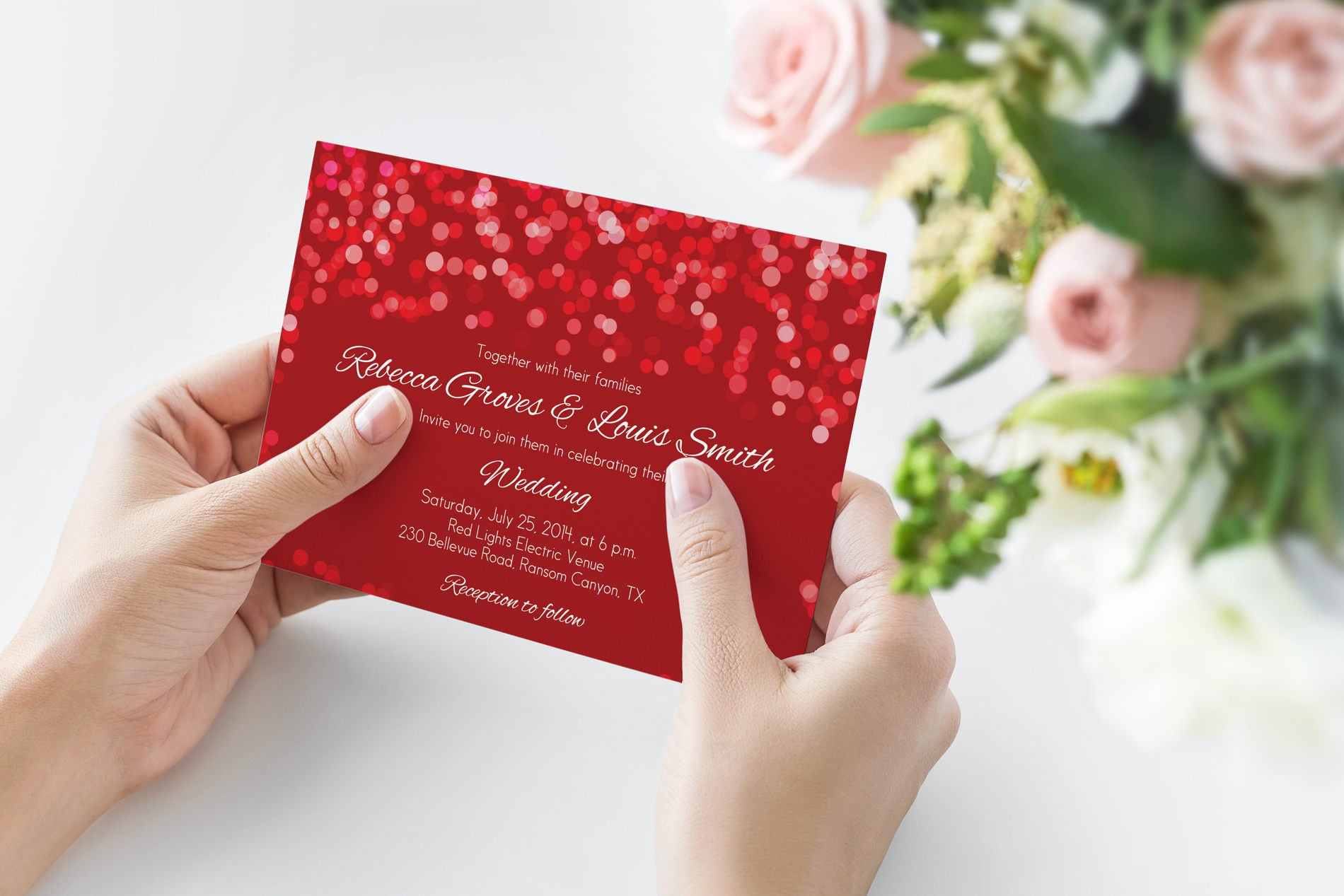 Printed Red Wedding Invitation Red Wedding Invitation | Etsy