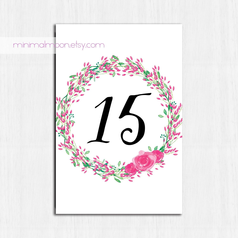 Números de mesa color de rosa flores números de mesa | Etsy