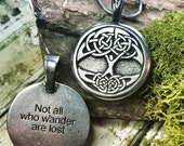 Tree of Life Necklace - Celtic Tree of Life Pendant quot Not all who wander are lost quot - Celtic Knot Tree of Life Pendant, Viking