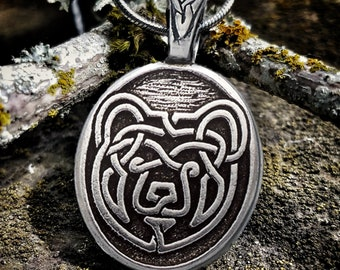 Celtic Knot Bear Necklace with Fine Pewter Pendant