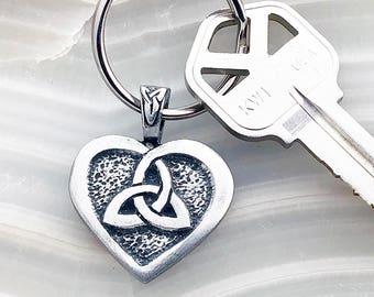 "Celtic Trinity Knot Keychain - ""Love"" - Heart of the Celts, Triquetra, Heart, Trinity Knot, Celtic Key Ring"