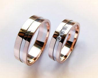 Wedding Rings His and Hers, Wedding Bands with diamonds, Two-tone Wedding Rings, Wedding bands Two-tone with Gold, Custom wedding rings