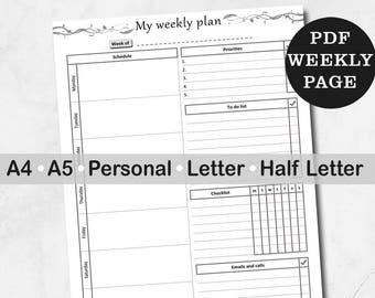 Weekly plan printable - week plan - weekly planner personal half letter a4 a5 inserts - printable weekly planner - week on one page