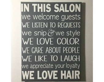 Painted canvas sign - hair salon decor - salon owner gift - salon rules