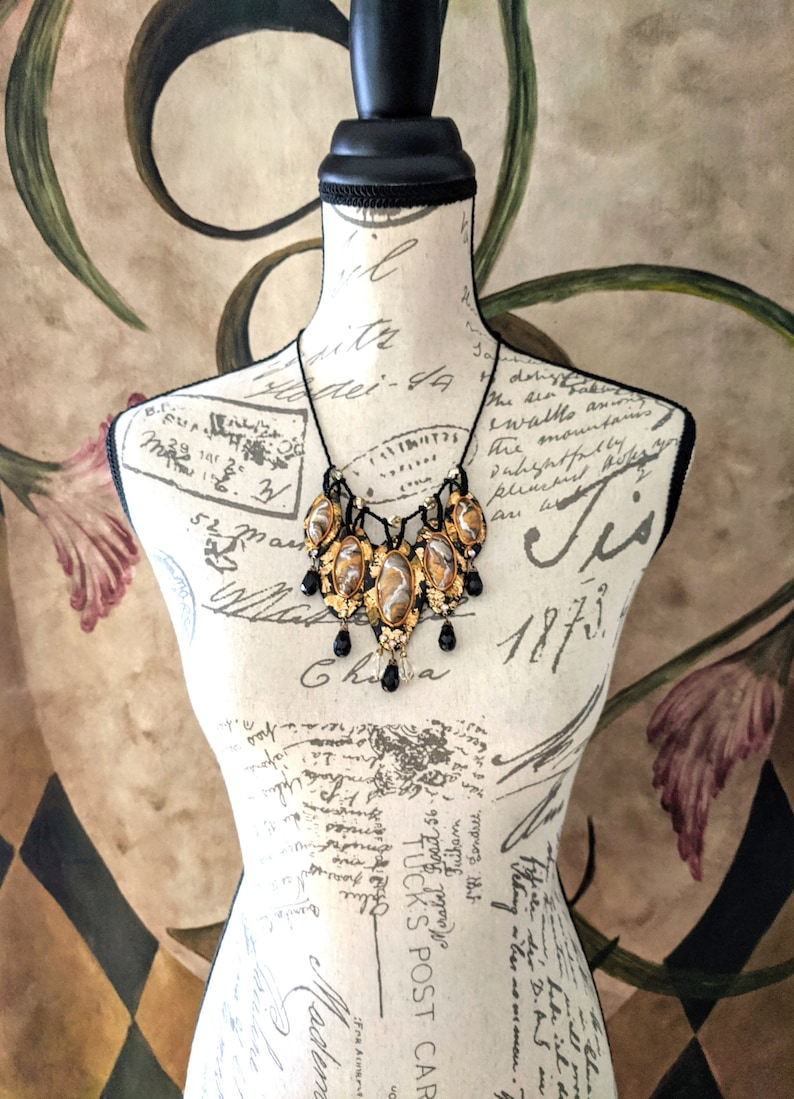 Gold Foil Polymer Clay Jewelry for Her Renaissance Costume Wear Glamorous Black and Gold Hand Beaded Bib Statement Necklace for Women