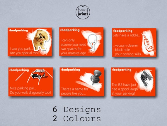 Bad parking cards full colour business card size 6 designs etsy reheart Choice Image