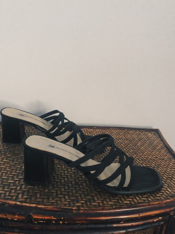 "Black Strappy Noir Mules with 2.5"" Block Heel"