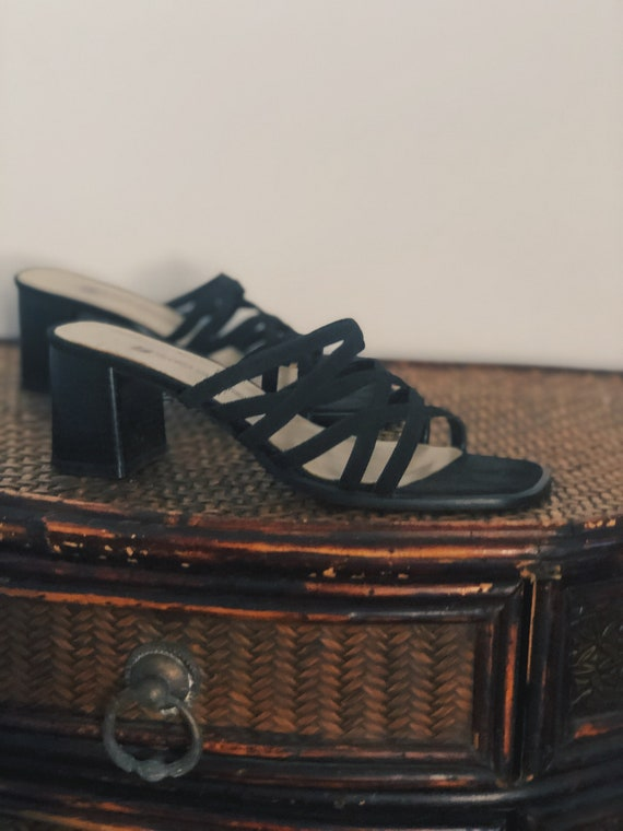 """Black Strappy Noir Mules with 2.5"""" Block Heel - image 3"""