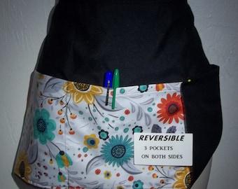 Sale Handmade server waitress waist apron Polka dots multi color with three pockets 6393