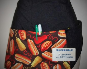 Handmade Reversible server waitress waist apronwith three pockets  HOT DOGS 6056 R