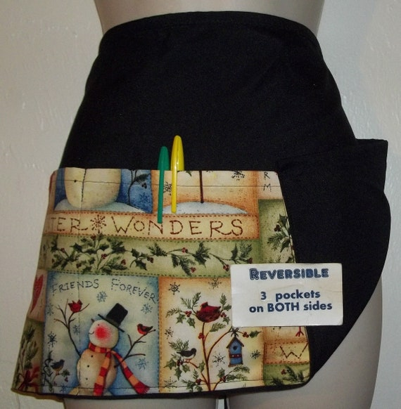 Black Christmas snowman holiday server waitress waist apron 3 pocket  restaurant