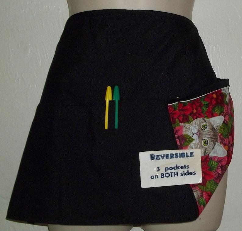 Christmas KITTENS /& POINSETTIAS server waitress waist apron Reversible 3 pockets on each side 1473 R