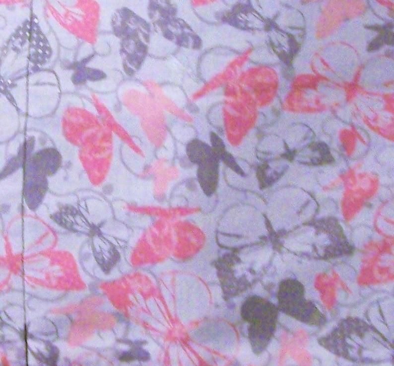 Handmade server waitress waist apron Pink and Silver Butterflies with three pockets 6057
