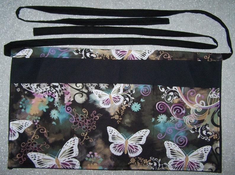 Handmade server waitress half apron Butterflies Flutter with three pockets  6365