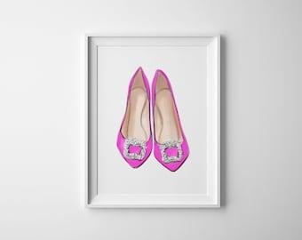 48914de9 Manolo Blahnik Shoes Bright Pink Giclée Art Print, Fashion Illustration,  Fashion Sketch, Fashion Art, Watercolour Illustration