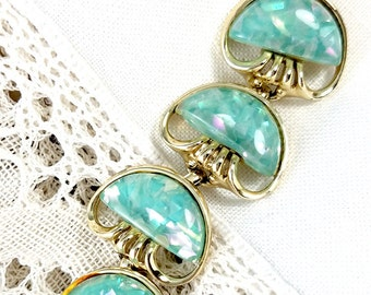 Coro Green Confetti Plastic Link Bracelet Vintage Coro Bracelet