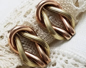 Square Knot Copper Brass Screw Back Earrings Lover's Knot