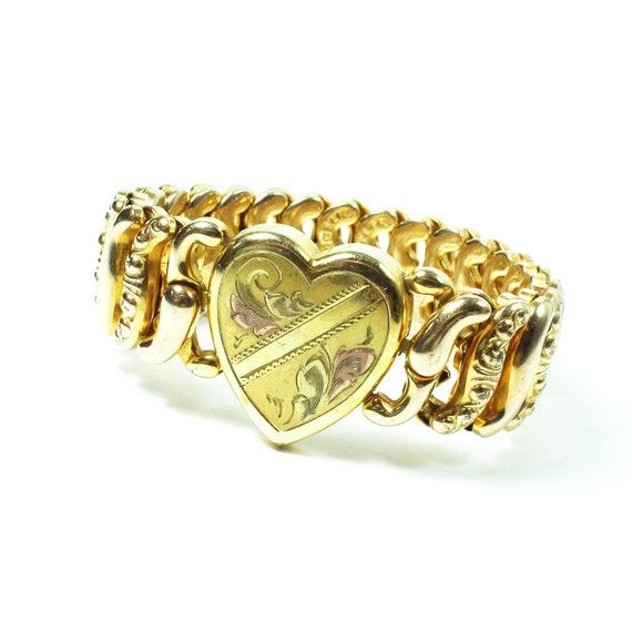 Sweetheart Gold Tone Expansion Bracelet, Heart Bra