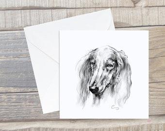 Saluki Portrait Card - Sighthound Greeting Card - Square Card - Dog Lover Card - Sighthound Card - Saluki gift - Saluki Card - Saluki Puppy