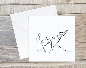 Trotting Sighthound Card - Greyhound Greeting Card - Square Card - Dog Lover Card - Sighthound Card - Saluki gift - Saluki Card - Saluki