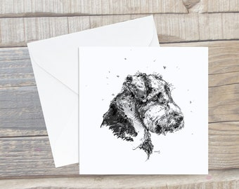 Airedale Terrier Sitting Card - Airedale Terrier Greeting Card - Dog Lover Card - Airedale Terrier gift - Airedale Terrier Present