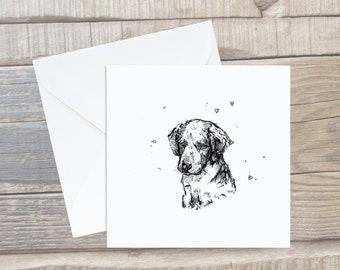 Labrador Puppy Card - Labrador Greeting Card - Dog Lover Card - Labrador gift - Labrador Present - Labrador Art - Black Labrador Card