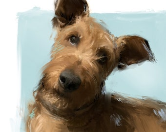 Irish Terrier Art Print - Irish Terrier Painting - Irish Terrier Gifts - Irish Terrier Ornament - Irish Terrier