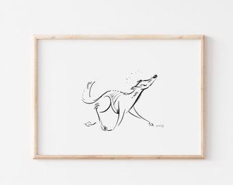 Saluki Art Print - Sighthound - Saluki Illustration - Abstract Art - Sighthound Drawing - Dog Art Decor Gift Home Art - Sketch
