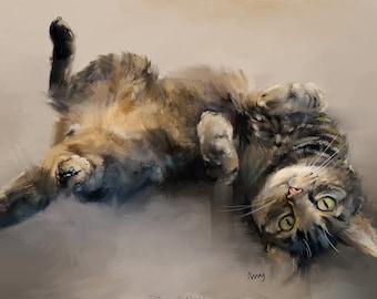 Tabby Cat Art - Custom Cat Portrait - Cat Art Print - Cat Drawing - Cat Gifts - Fluffy Tabby Cat Painting - Custom Cat Art Print