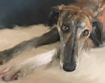 Greyhound Art - Greyhound Print -Sighthound Art - Greyhound Drawing - Greyhound Gifts - Greyhound Ornament - Lurcher - Brindle - Whippet