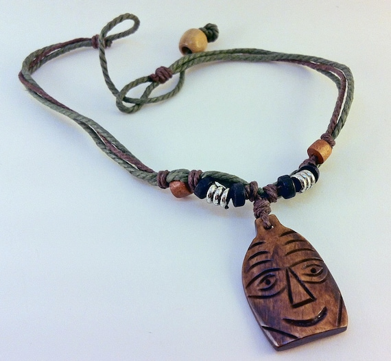 Hand Carved Wooden Necklace Organic Tribal Jewelry