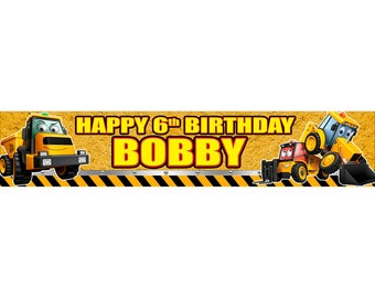 2 x JCB Digger Personalised Birthday Banner, custom, party,