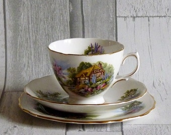 Vintage Royal Vale English Country Cottage Garden Trio Cup and Saucer