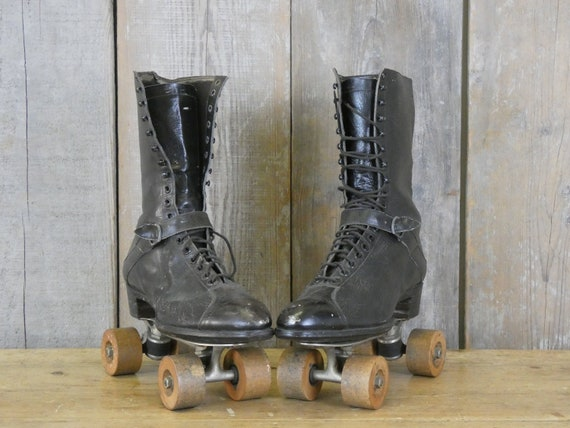 Pair of Antique Leather Boots with Dexter Roller … - image 2