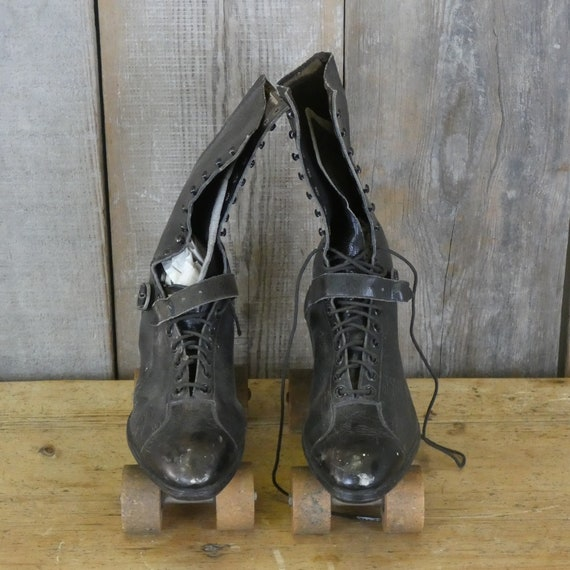 Pair of Antique Leather Boots with Dexter Roller … - image 3